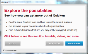 quicken upgrade message