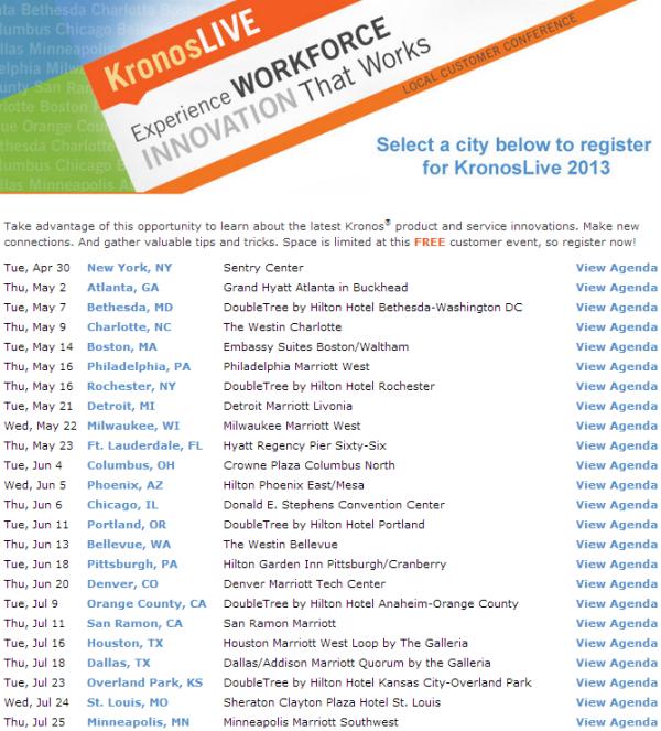 Kronos Live Schedule