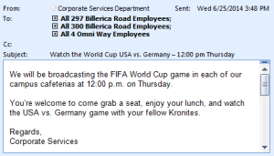 World Cup Email