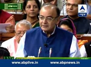 Finance Minister Arun Jaitley presents the 2015 India National Budget on National TV